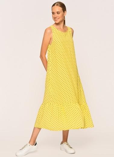 Loves You Puantiyeli Saten Yüzeyli Midi Boy Elbise Sarı